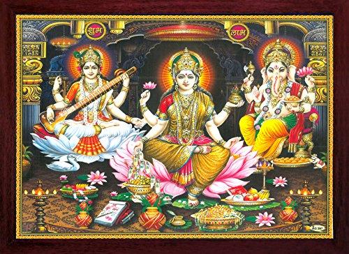HandicraftStore lotuxo-MAA-Laxmi Duschen Geld Bei lotuxo-MAA-Spiel mit Saraswati Vina und Ganesha Geben Segen, Malen mit Rahmen, Muss für Home & Verehrung Zweck.