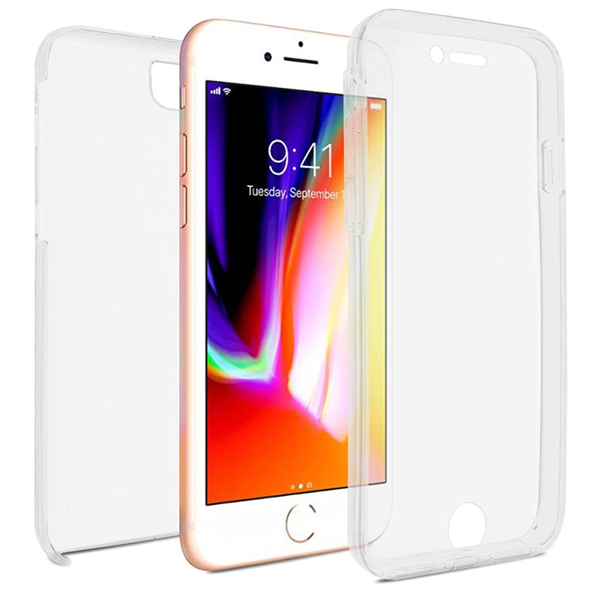 CoverON SlimGuard Fit iPhone 8 Plus Full Body Case, iPhone 7 Plus Fully Body Case, Premium Slim Protective Hard Polycarbonate and TPU Rubber Hybrid Front and Back Cover - Clear