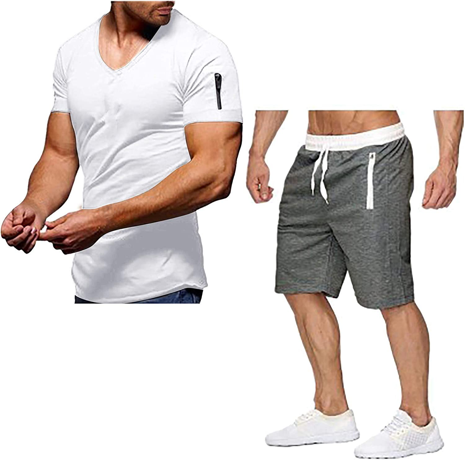 2 Piece Striped Stitching Tracksuit Comfy Short Sleeve & Shorts Sets for Sport