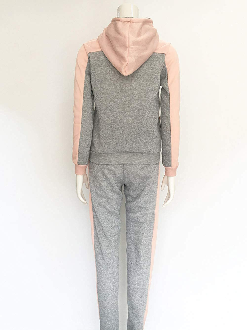 TUDUZ Damen Hausanzug Jogginganzug Jumpsuit Langarm Pullover Sportanzug Trainingsanzug Rundhals Sweatshirt Lang X-rosa