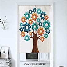 AngelDOU Industrial Decor Printed Good Fashion Fun Door Curtains Innovation Gears Concept Tree The System of Nature Cooperation Start Up Modern Graphic for Bathroom Kitchen Door Win 33.5x59 inches