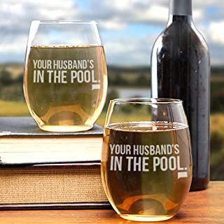 The Real Housewives of New Jersey Your Husband's in the Pool Stemless Wine Glass - Set of 2