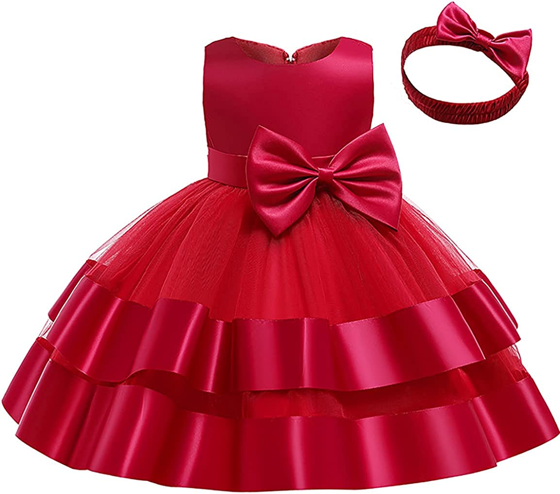 WEONEDREAM Baby Flower Girl Dress with Headwear Kids Party Wedding Pageant Special Occasion Dress