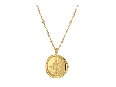 gorjana Compass Coin Necklace (Gold) Necklace