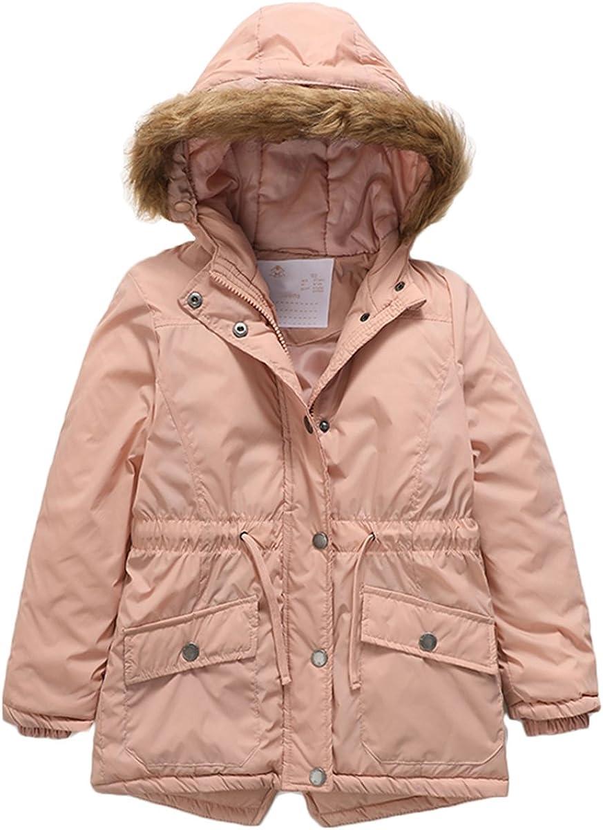 PHIBEE Girls' Cotton Winter Windproof Faux Fur Hooded Parka Jacket