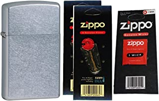 Zippo 1607 Slim Street Chrome Windproof Lighter with Two Flint Card and One Wick Card