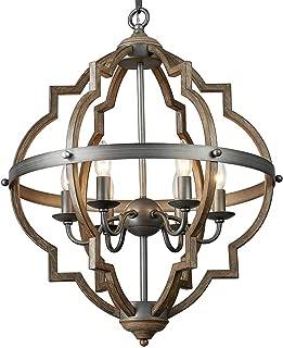Saint Mossi Stardust Distressed Oak Finish Farmhouse Orb Chandelier Lighting Flush LED Ceiling Light Fixture Pendant Lamp Dining Room Bedroom Livingroom 6 E12 LED Bulbs Required Height 29 Width 21
