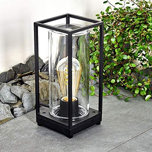 Außenleuchte Palanga, moderne Wegeleuchte aus Metall in Schwarz mit Klarglas-Scheiben, 1-flammig, Stehleuchte 27 cm, Gartenlampe mit E27-Fassung max. 40 Watt, Gartenbeleuchtung IP44, LED geeignet