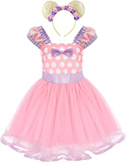 Girls' Polka Dots Princess Party Cosplay Pageant Fancy Costume Tutu Birthday Dress up+Ears Headband