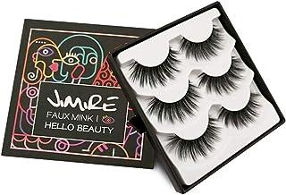 JIMIRE False Eyelashes 3D Lashes Pack Fluffy Long Lashes Reusable Eyelashes 3 Pairs