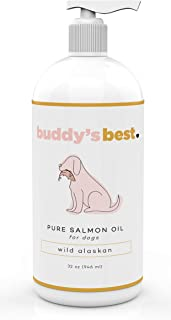 Buddy's Best Pure Salmon Oil Dog Food Supplement - Wild Alaskan Fish Oil For Dogs - Dog Fish Pump Oil - Liquid Omega 3 For Dogs - Anti-Itch, Anti-Inflammatory, Salmon Oil Dog Food 32oz
