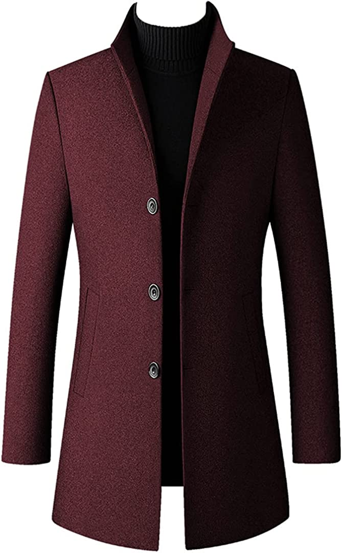 Winter Wool Coat Men Thick Stand Collar Coat Male Fashion Wool Blend Outwear Jacket Smart Trench