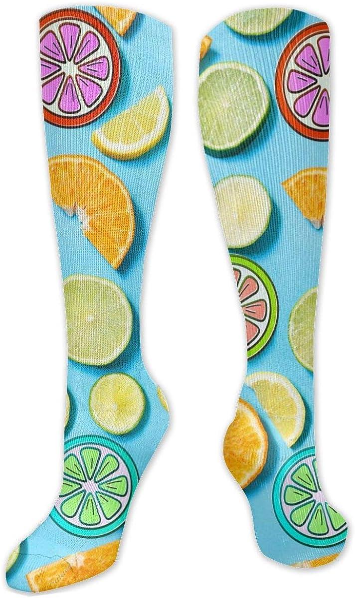 Lemon And Orange Knee High Socks Leg Warmer Dresses Long Boot Stockings For Womens Cosplay Daily Wear