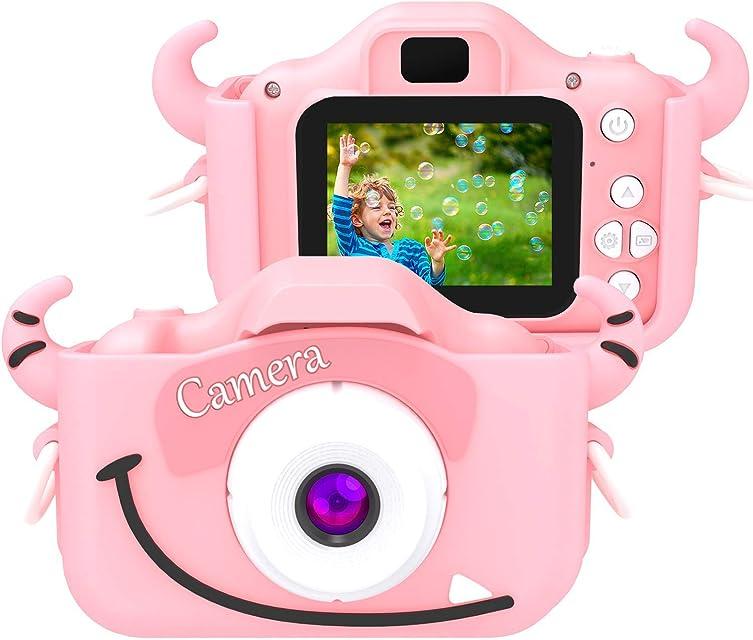 SoloKing Cámara para NiñosVideo Cámara Infantil con 12 MegapíxelesDoble LentePantalla LCD de 2.0 PulgadasVideo HD de 1080P32GB Tarjeta de Memoria Incluida (Rosa)
