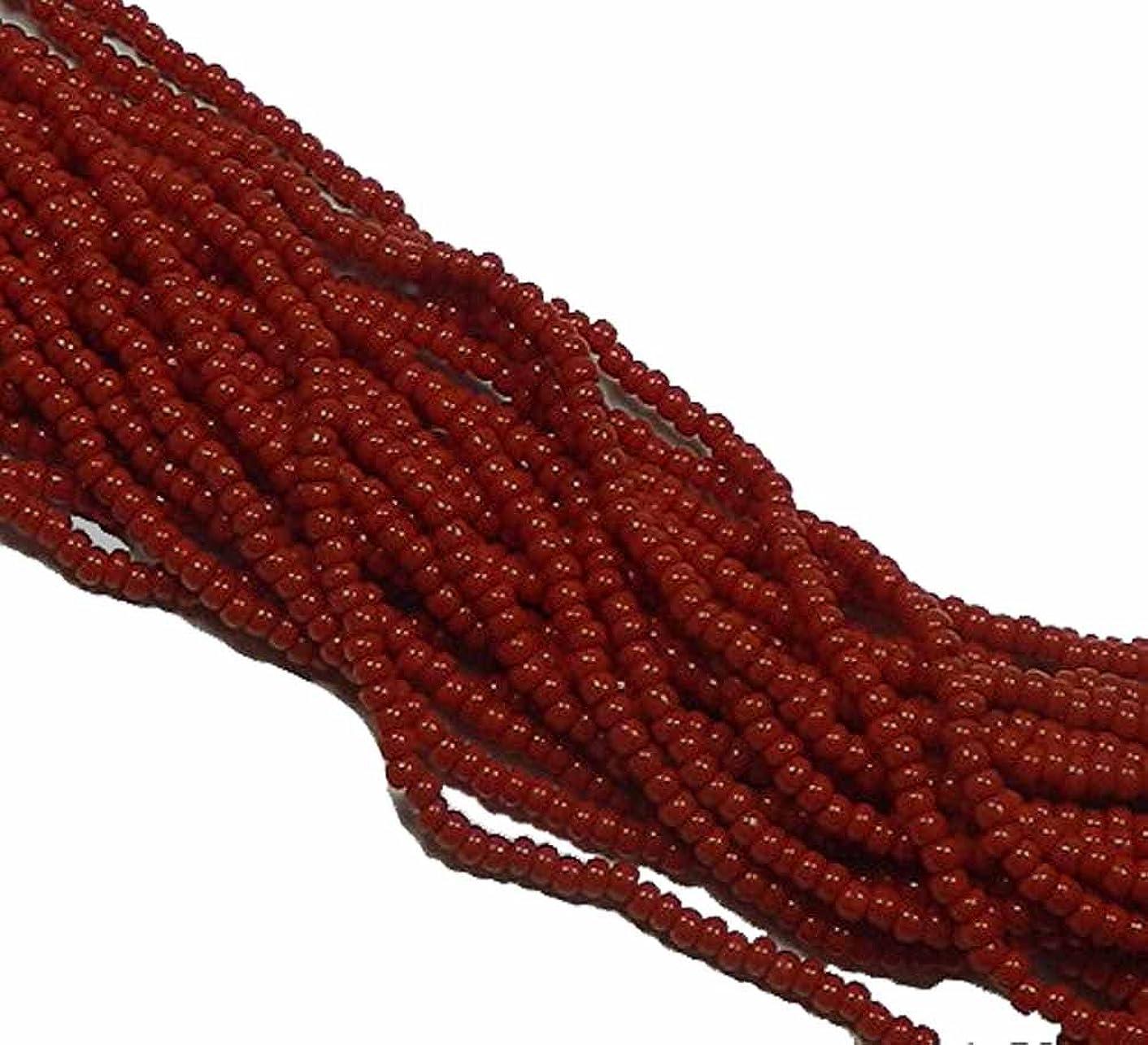 Dark Red Opaque Czech 8/0 Glass Seed Beads 1 Full 12 Strand Hank Preciosa Jablonex