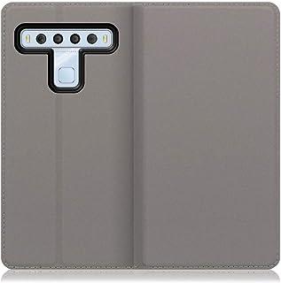 LOOF SKIN Slim TCL 10 lite ケース 手帳型 カバー 極薄 ベルト無し カード収納 カードポケット 薄い 軽い スタンド機能 手帳型ケース スマホケース シンプル 手帳型カバー (グレー)