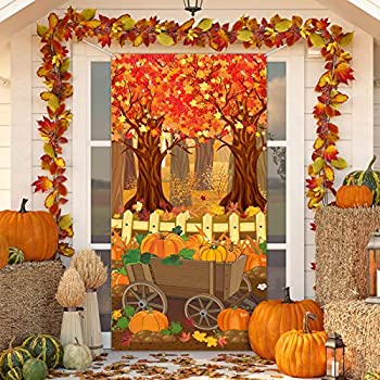 Thanksgiving Decoration Photo Backdrop Fall Maple Trees Door Cover Harvest Pumpkin Patch Background for Thanksgiving Fall Harvest Scarecrow Party Decoration Supplies 6 x 3 Feet