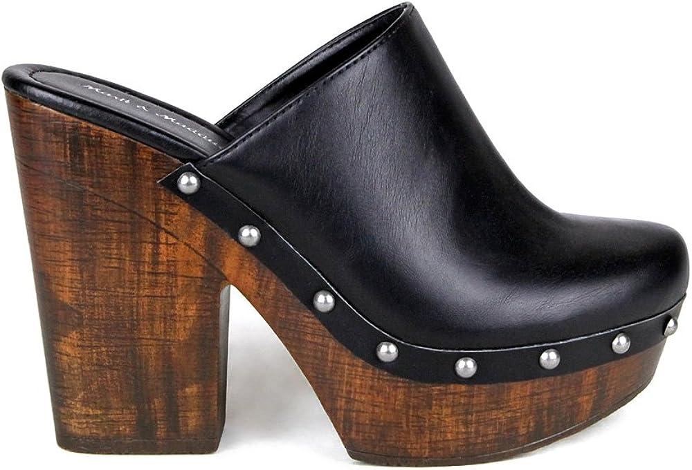 Mark and Maddux Antonio-06 Wood Effect Platform Women's Clogs in Black