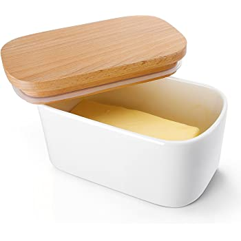 Sweese 303.101 Large Butter Dish - Airtight Butter Keeper Holds Up to 2 Sticks of Butter - Porcelain Container with Beech Wooden Lid, White