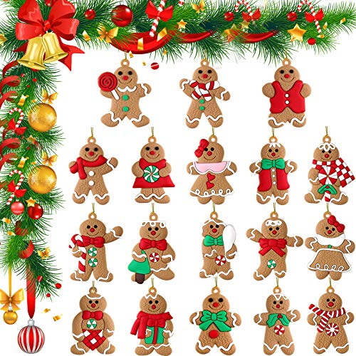 18 Pieces Traditional Cute Gingerbread Man Ornaments Assorted Clay Figurine Shapes Christmas Gingerman Cookie Doll Hanging Charms with Rope for Christmas Tree Holiday Decorations, 18 Styles