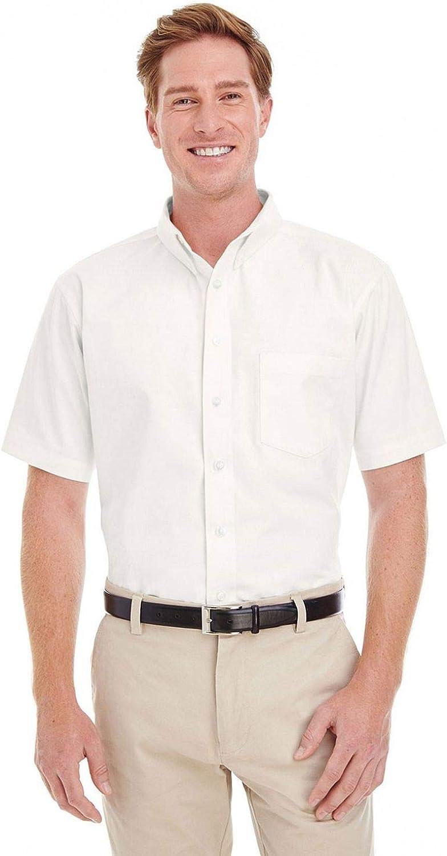 Harriton Foundation 100% Cotton Short-Sleeve Twill Shirt Teflon (M582)