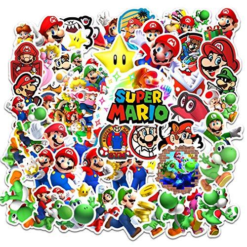 50 Stück Mario-Cartoon-Aufkleber Helm, Super Mario, personalisierter Laptop-Wasserbecher, Gitarren-Aufkleber