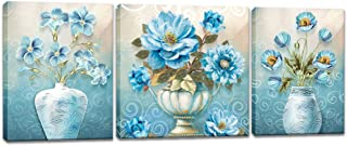 Innopics 3 Piece Elegant Bouquets Canvas Wall Art Blue Flowers in Vases Print Painting Vintage Still Life Floral Artwork Modern Gallery Wrapped Home Decor Framed for Bedroom Living Room Decoration
