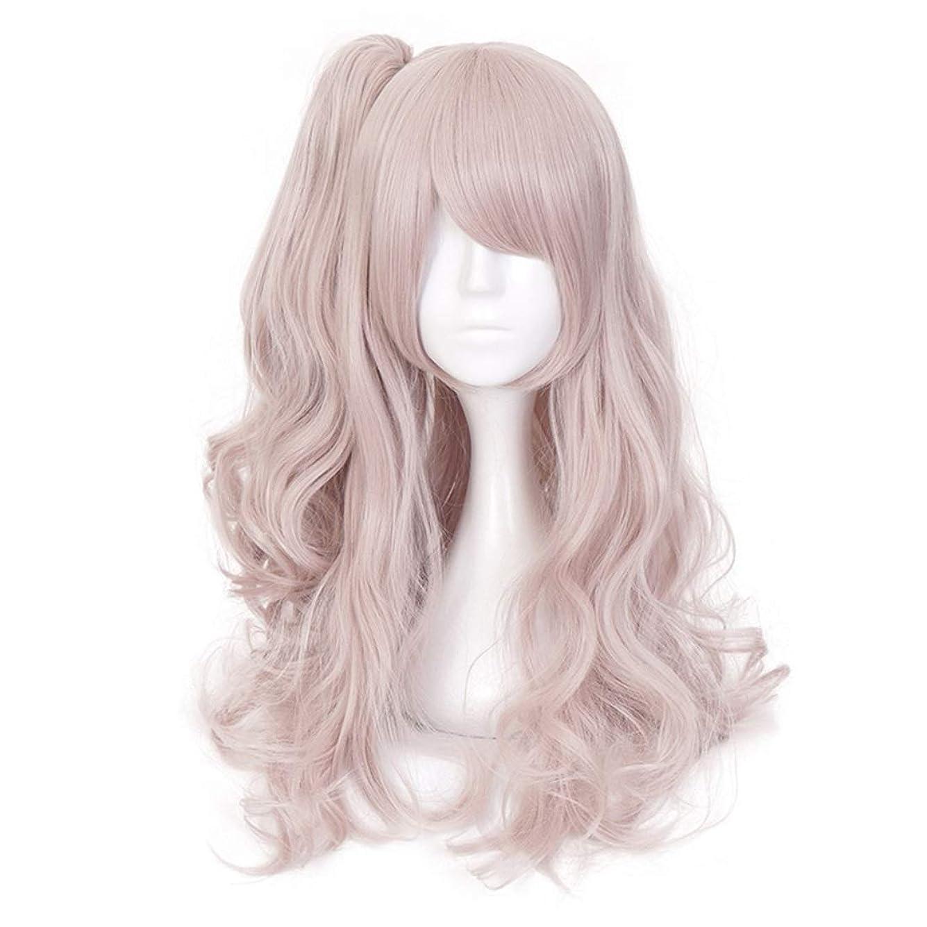 海虐殺扱うKoloeplf ロングカーリーグラデーションピンクラブリーガールコスプレウィッグフル人工毛アニメヘア (Color : Pink)