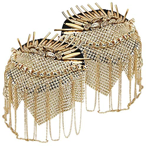 Spalline uniformi Unisex 2 pezzi oro punk rock nappa catena rivetto prigioniera nappa catena spalline spalline distintivo costume uniforme cerimonia accessori per uomo donna Costumi Accessori