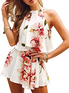 c971108bf83a2 Rompers for Women Summer Casual Floral Short Jumpsuits Sleeveless Elegant  Playsuit 2 Piece Outfits for Ladies
