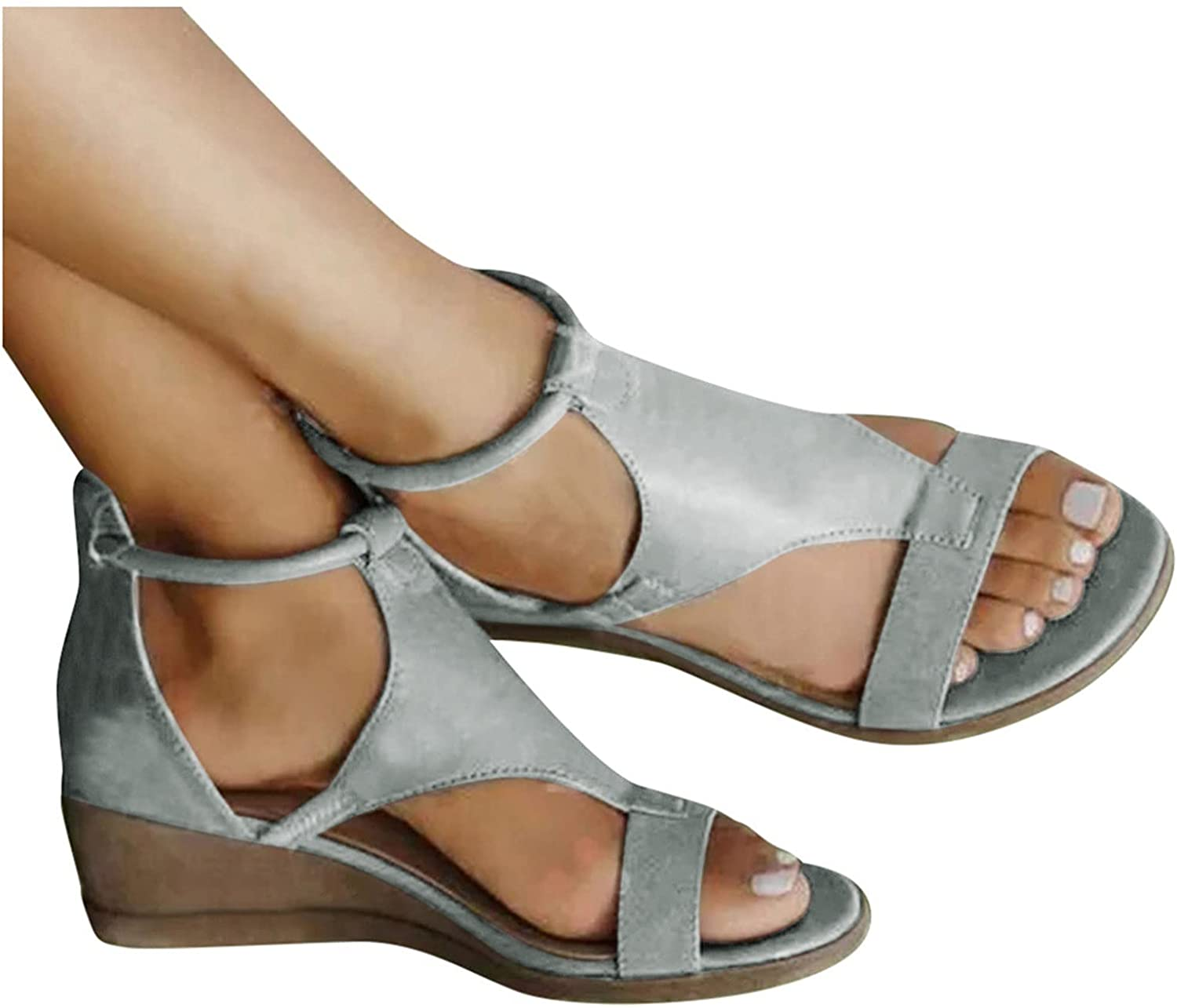 Niceast Sandals for Casual Summer,Womens Open Toe Platforms & Wedges Zipper Wide Width Ankle Strap Sandals