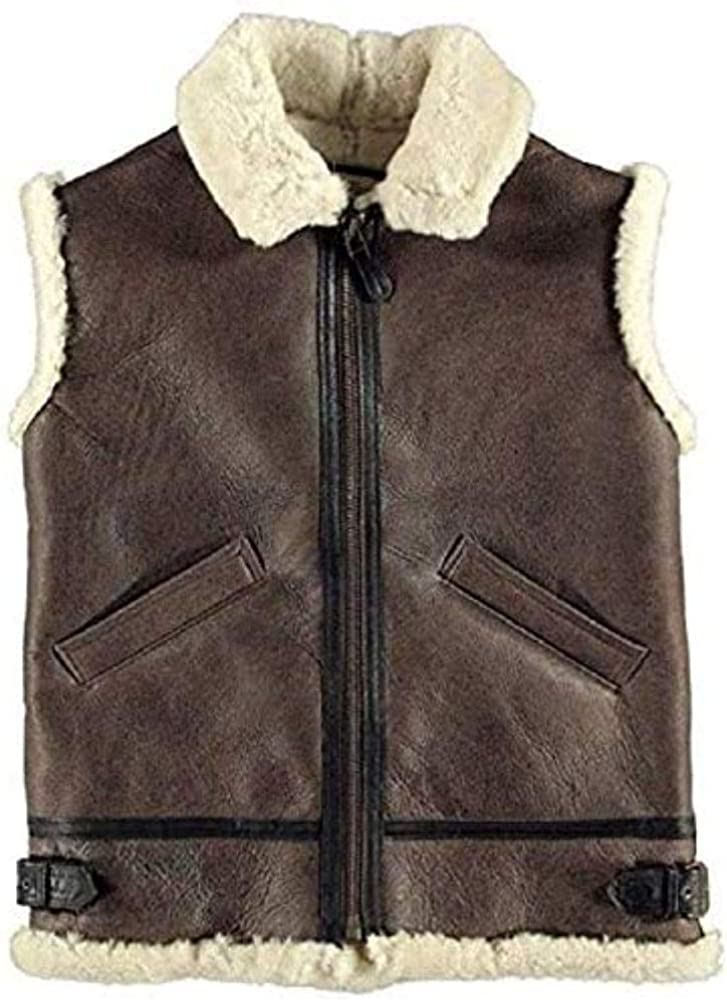 Movie Clothiers B3 Brown Bomber Shearling Sheepskin Leather Vest