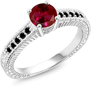 1.17 Ct Round Red Created Ruby Black Diamond 925 Sterling Silver Ring (Available 5,6,7,8,9)