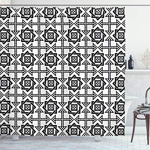 Ambesonne Black and White Shower Curtain, Celtic Star Pattern with Arrows with Polka Dots Floral Canonical Design, Cloth Fabric Bathroom Decor Set with Hooks, 70' Long, White Black