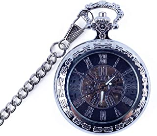 Watch Mechanical Pocket Watch Male and Female Students Hollowed Out Engraving Pocket Watch Flip Retro, Fashion Watch (Color : Silver, Size : 4.7x1.5cm)