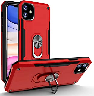iPhone 11 Case Heavy Duty Military Grade phone Cases with Ring Car Mount Kickstand 15ft Drop Tested Protective Cover, Heavy Duty Defender Metal Dropproof Shockproof Dirtproof, Red