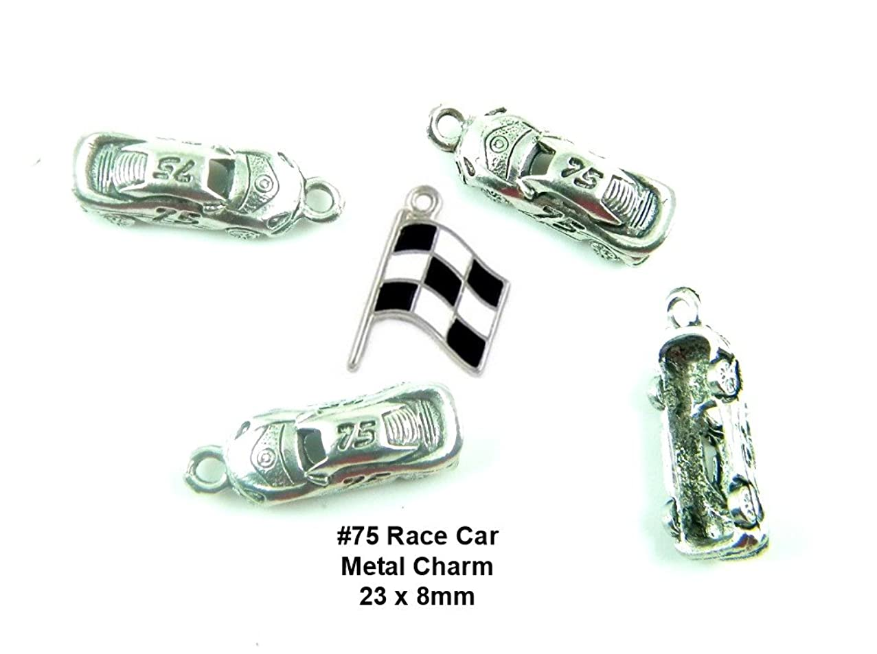 PlanetZia 4pcs #75 Race Car Charms + Free Enameled Checkered Flag Charm For Jewelry Making TVT-RCF-1
