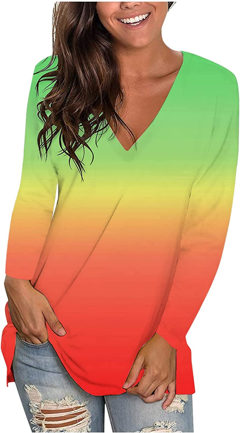 Fall Tops for Women Long Sleeve, Women's Gradient V Neck T Shirts Casual Relaxed Fit Tees Tie Dye Blouse Tunic