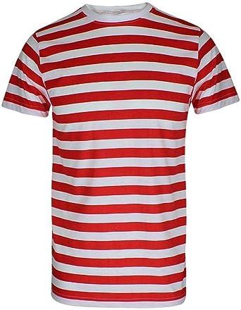 Camiseta de rayas para hombre, color rojo y negro y azul y negro