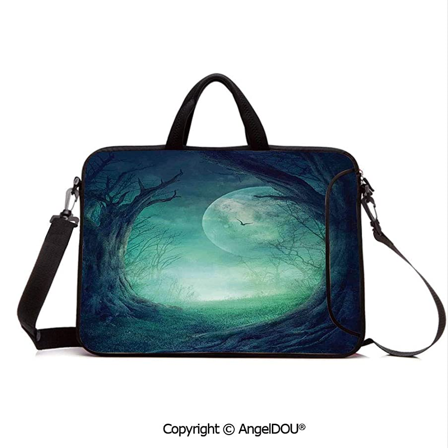 AngelDOU Laptop Shoulder Bag Waterproof Neoprene Computer Case Misty Horror Illustration of Autumn Valley with Woods Spooky Tree and Full Moon with Handle Adjustable Shoulder Strap and External Sid