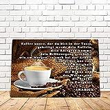 Blechschild Coffee lustig mit Spruch Kaffee Gebet 20x30 cm Metallschild Cafe Sprüche Geschenk Dekoschild Küche Bar Schild für Kaffeeliebhaber