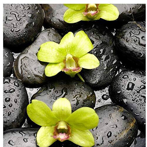 Mrlwy Custom piedra gotas de agua orquídeas 3D piso baldosas salón piso autoadhesivo decorativo-400X280cm
