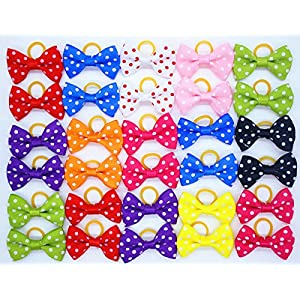 yagopet 20pcs/10pairs Small Dog Hair Bows Topknot Classic Polka Dots Small Bowknot with Rubber Bands Pet Grooming Products Mix Colors Pet Hair Bows Dog Hair Accessories