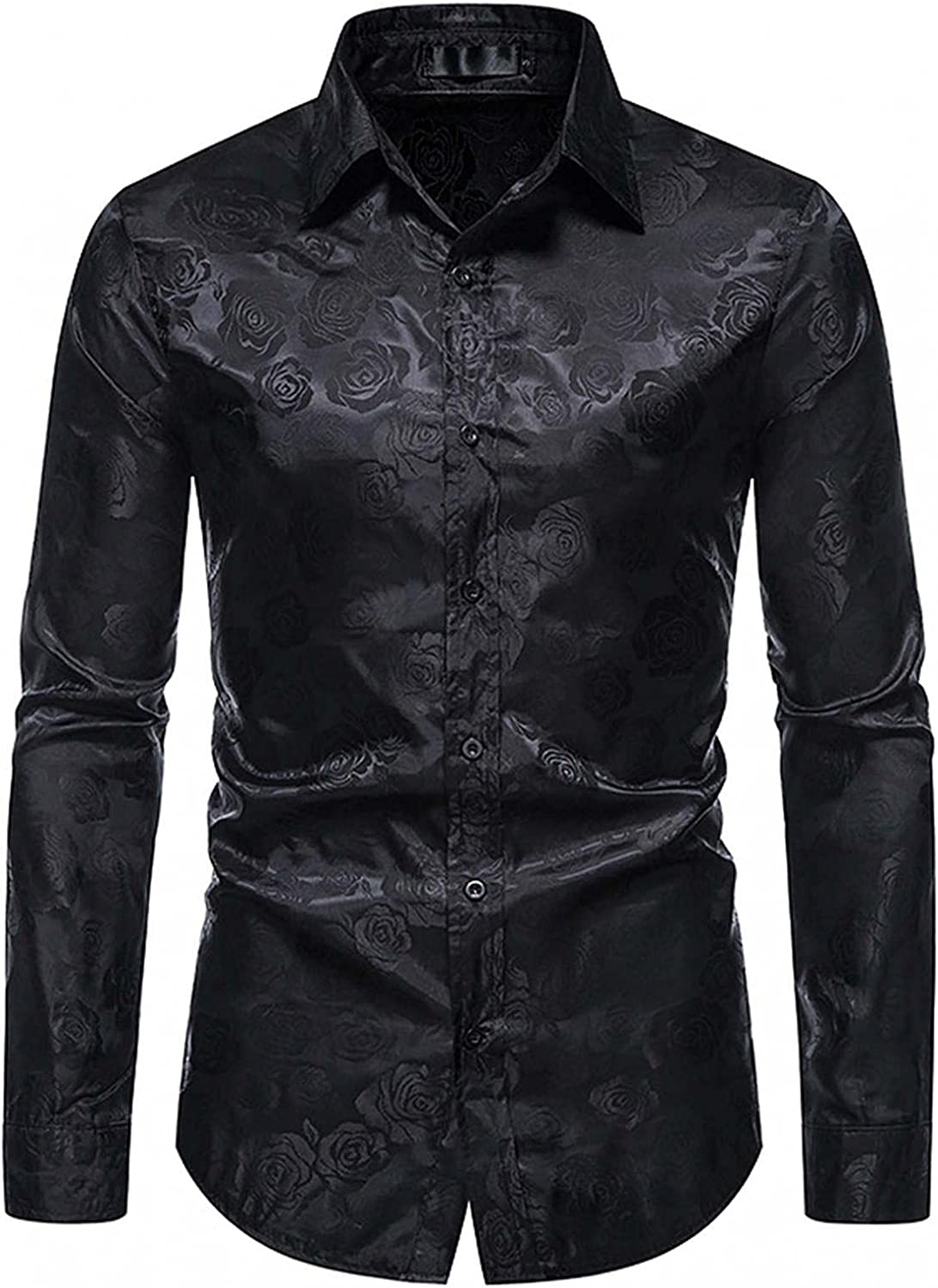 VEKDONE Mens Long Sleeve Button Down Shirts Slim Fit Floral Rose Printed Design Prom Wedding Party Business Dress Shirt