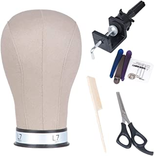 L7 Canvas Block Mannequin Head for Wig Display, Making,Cork Canvas Blocked Head with Mount Hole Manikin Head 22
