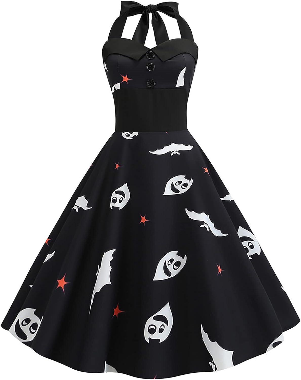 LINKIOM Halloween Dress Women Casual Fashion V-Neck Printed Halloween Dress