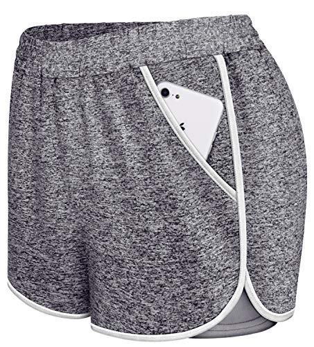 Koscacy Shorts for Teen Girls,Tennis Short Women Double Layers Performance Short Pants Girls 2020 Fashion Athletic Apparel Lightweight Activewear with Pockets Grey Small