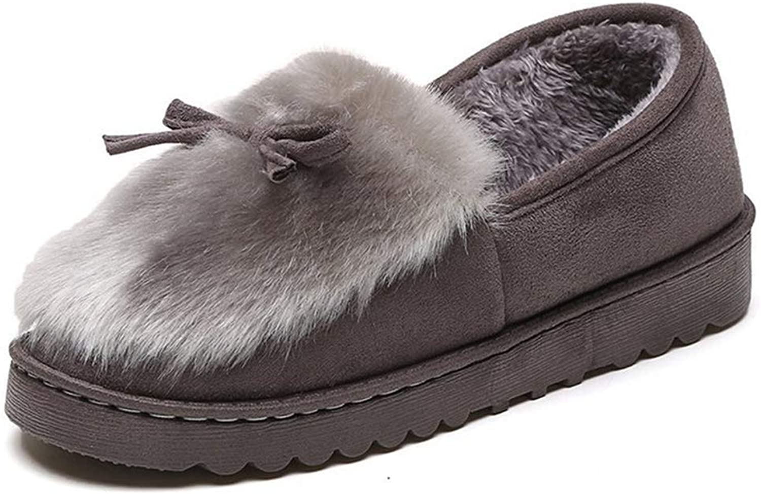 Nafanio Winter Plush Moccasin shoes Women Home Indoor with Fur Warm Female Ladies Cotton Women Warm Slippers