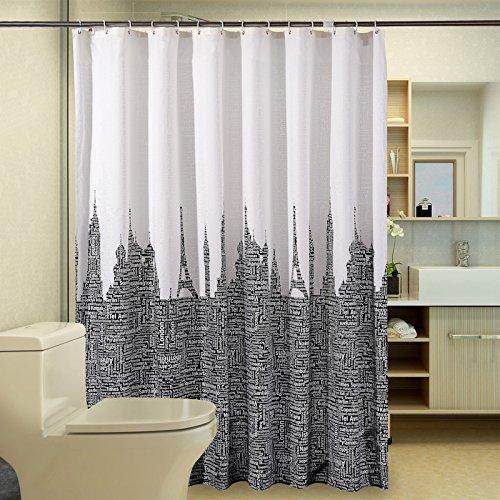 Generic 300breit 200Hoch: Wasserdicht Badezimmer Gardinen, weiß schwarz Polyester Duschvorhang Buchstaben Tower modernem Stoff Persönliche Bad Vorhang