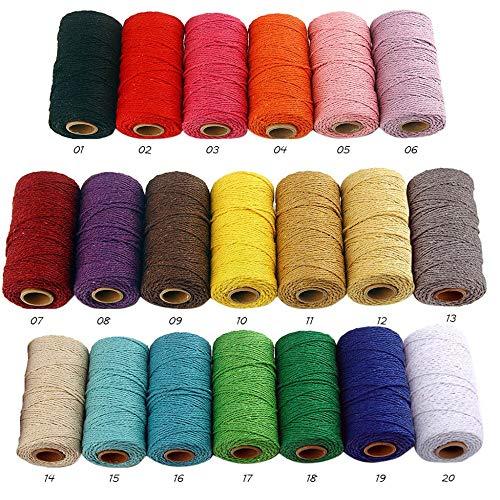 YanHui-LZC 3 hilos de bordado, cuerda trenzada 100% algodón, cuerda de macramé, hilo de cuerda para decoración de fiestas, bodas, accesorios de bricolaje para proyectos de manualidades y arte